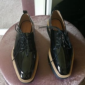 Zara Black Patent Leather Platform Oxfords